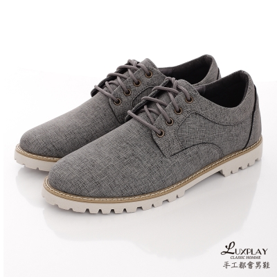 LUXPLAY男款 英倫斜紋單寧浪潮 超輕質舒適 休閒鞋 ~WK250-灰