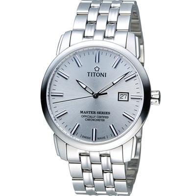TITONI Master Series 天文台認證機械腕錶-銀色/41mm
