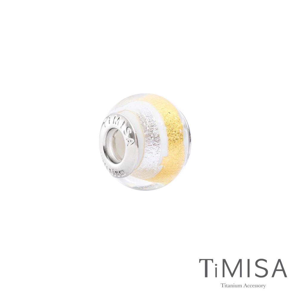 TiMISA 銀白月牙(11mm)純鈦琉璃 墜飾串珠
