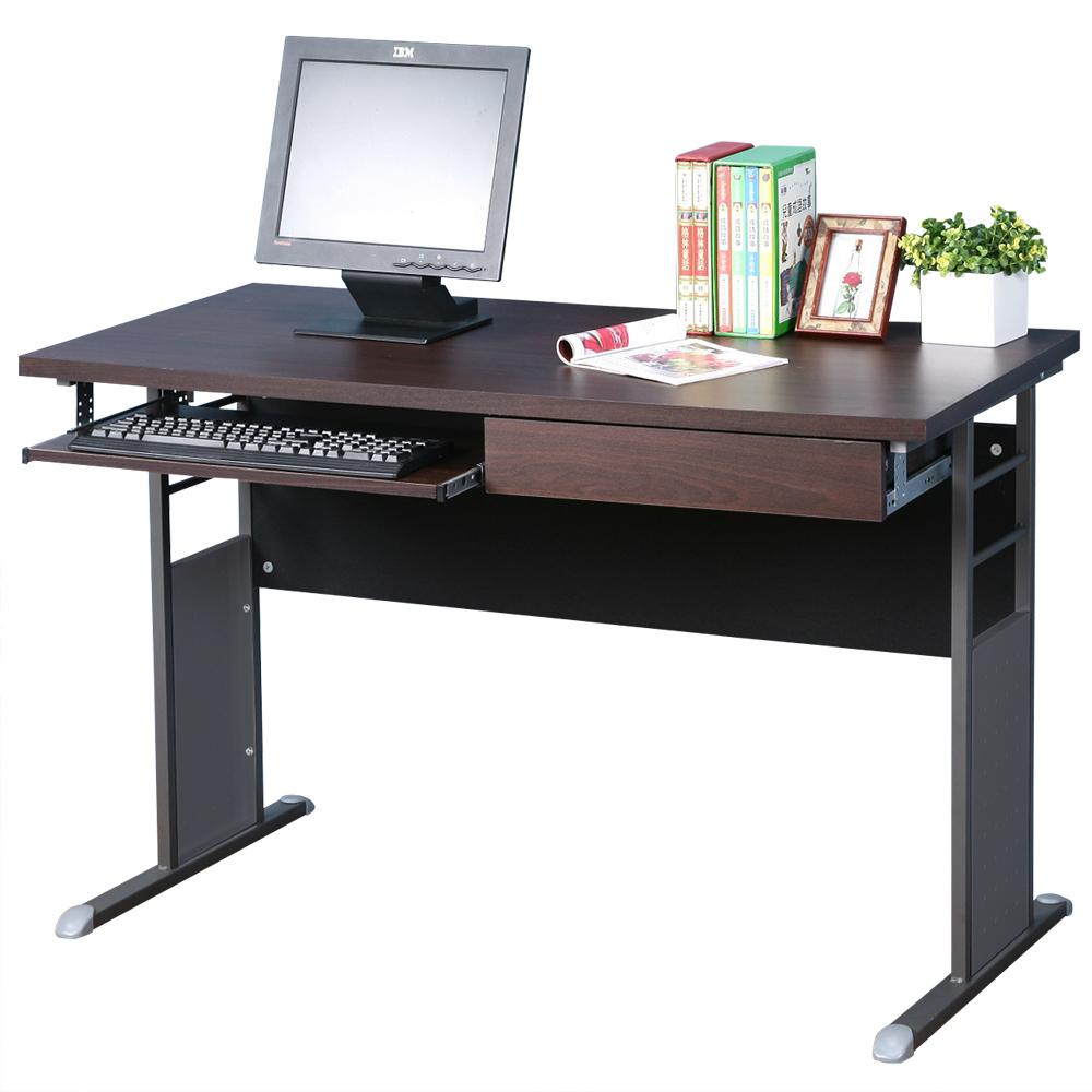 Homelike 巧思120x60辦公桌(附抽屜+鍵盤架)-胡桃桌面/炫灰桌腳