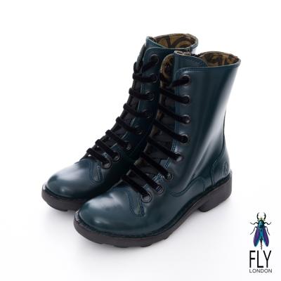 Fly London(女)★英式馬汀 真皮 8 孔綁帶式中靴 - 軍藍亮