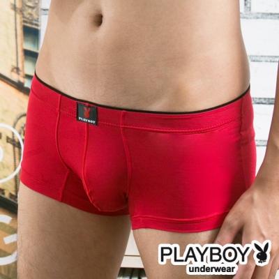 Playboy LOGO提花萊卡彈性低腰平口褲-單件-紅色