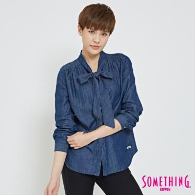SOMETHING 優雅領結襯衫-女-拔淺藍
