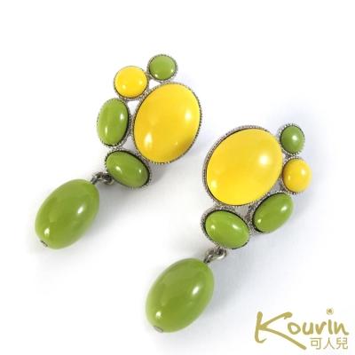 KOURIN藝術系列-普普風粉綠雙色耳環