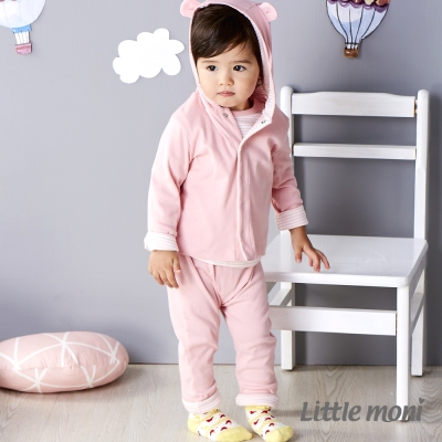 Little moni 純棉家居系列拼接反褶長褲 粉紅