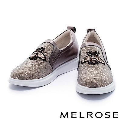 休閒鞋 MELROSE 復古奢華異材質拼接小蜜蜂點綴排鑽厚底休閒鞋-古銅