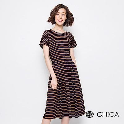 CHICA 自在女孩縮腰橫條紋設計洋裝(2色)