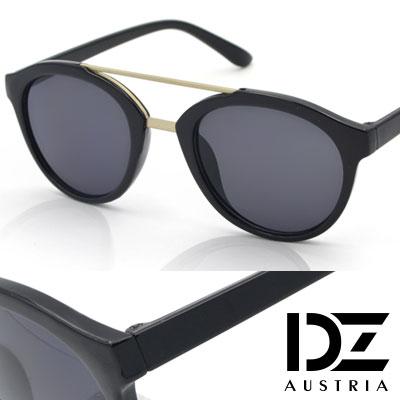 DZ 復古霧金雙樑 抗UV 太陽眼鏡墨鏡(亮黑系)