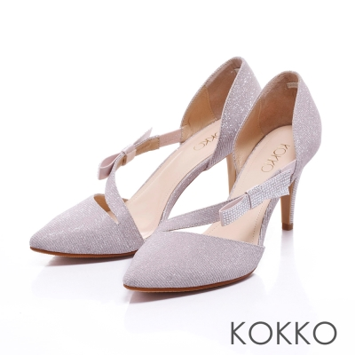 KOKKO經典手工優雅尖頭水鑽蝴蝶結摟空高跟鞋
