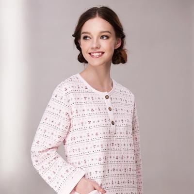 羅絲美睡衣 - 花漾精靈長袖洋裝睡衣 (淺粉色)