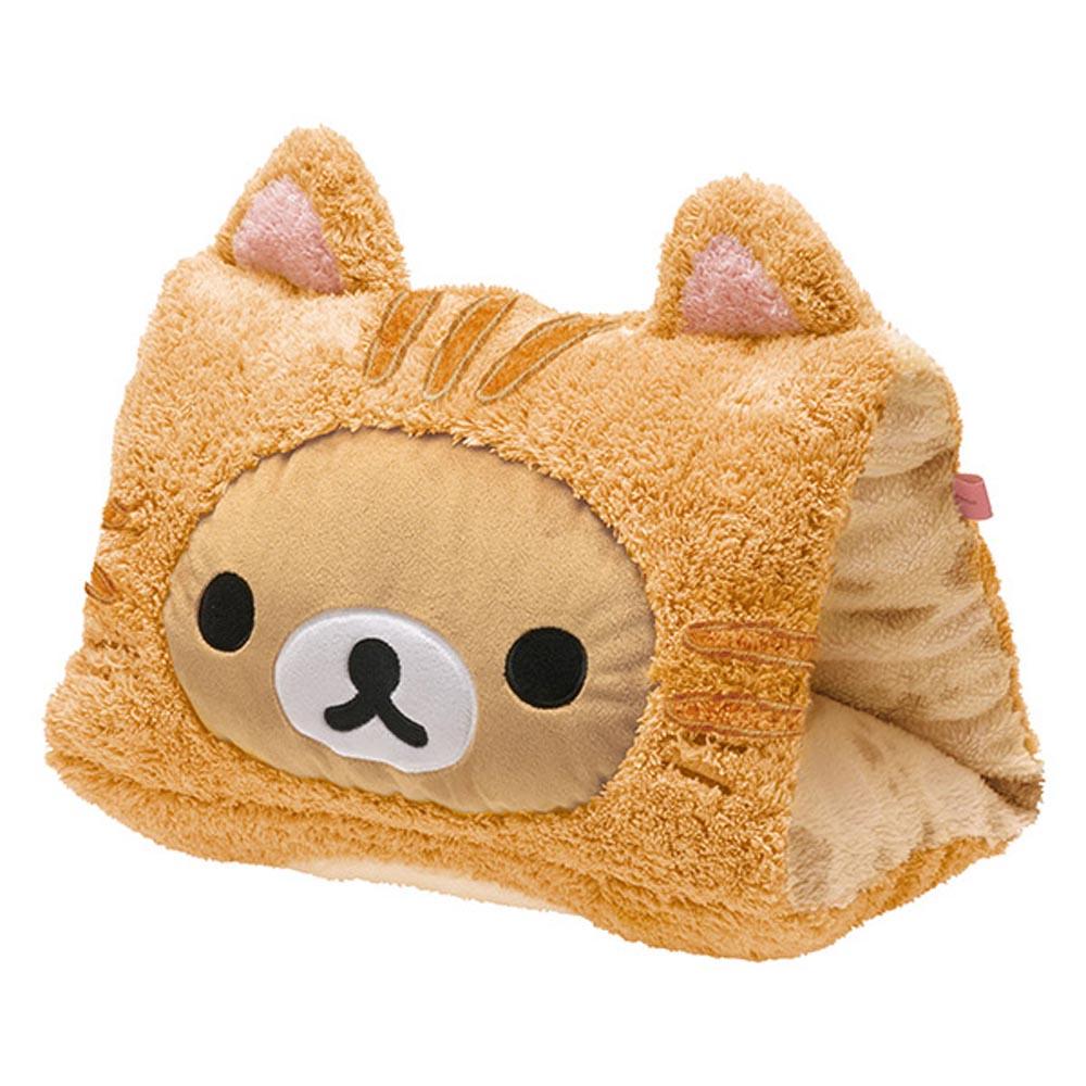拉拉熊悠閒貓生活系列立體毛絨座墊午安枕。懶熊