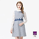 ILEY伊蕾 質感提織腰拼蕾絲洋裝(藍/米)