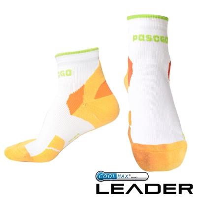 LEADER COOLMAX 女款 透氣中筒 戶外健行 機能運動襪 橙色