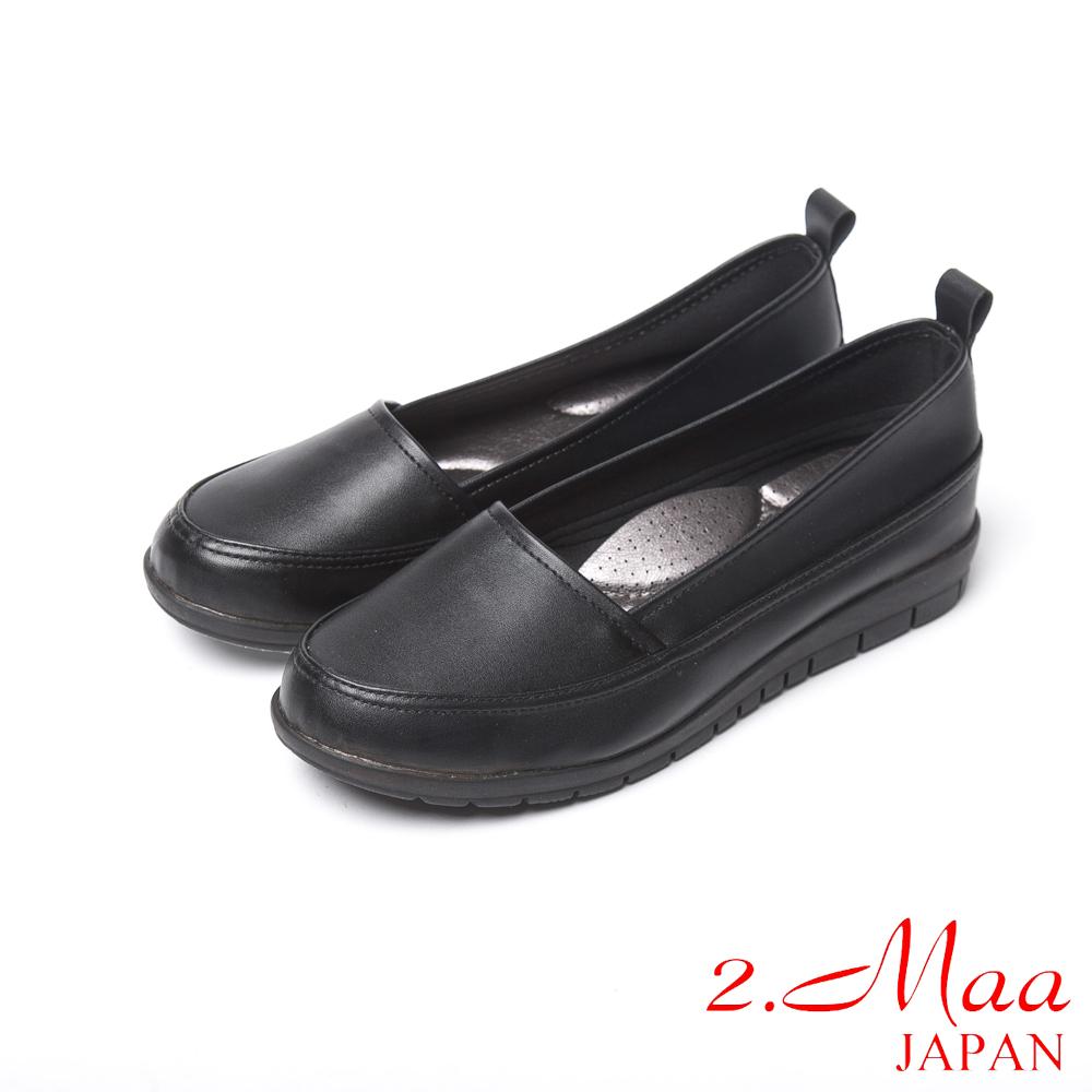 2.Maa 經典時尚柔軟仿羊紋皮家樂福鞋-經典黑