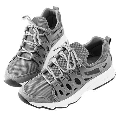 Robinlo & Co. 時尚異材質鏤空休閒運動鞋 灰色