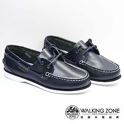 WALKING ZONE-英倫 真皮手工車縫帆船鞋-深藍