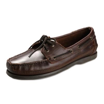 (男)MINNETONKA-Lariat Boat綁帶牛皮帆船鞋-深棕色