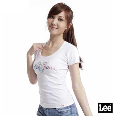 【Lee】短袖圓領T恤-女款(白)