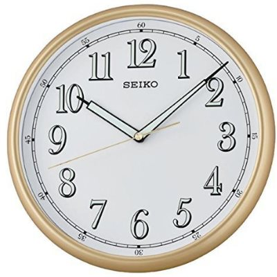 SEIKO 日本精工 滑動式秒針 夜光時鐘 掛鐘(QXA659G)金框-白/28cm