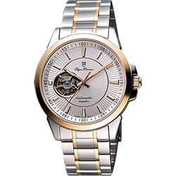 Olympianus 奧柏 都會鏤空時尚機械腕錶-銀/雙色版/40mm