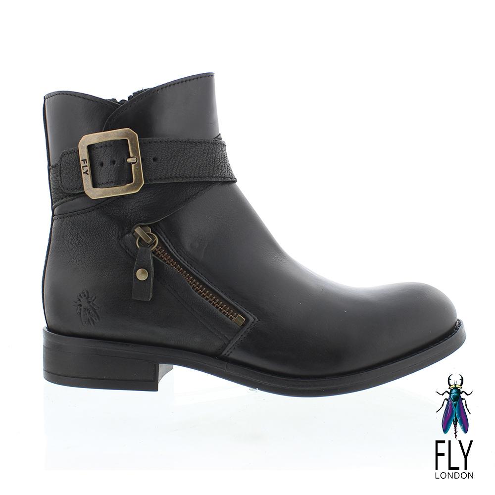 Fly London(女) 仿舊個性復古低跟中筒靴-黑色