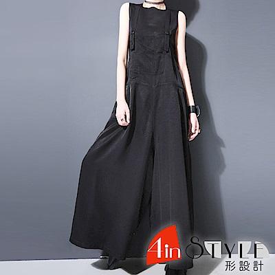 作舊多口袋拼接寬鬆吊帶褲 (黑色)-4inSTYLE形設計