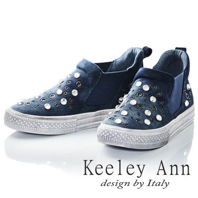 Keeley Ann 西部牛仔~仿舊鉚釘水鑽真皮軟墊休閒鞋(藍色-Ann)