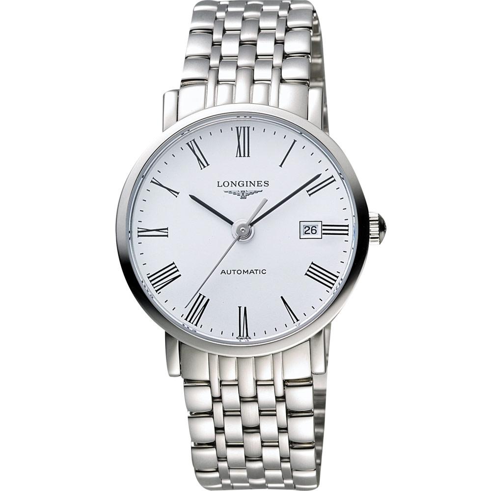 LONGINES Elegant 優雅系列羅馬機械腕錶-白/39mm L49104116