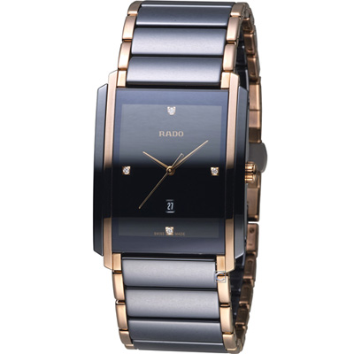 RADO Integral 精密陶瓷系列腕錶-黑x玫瑰金色/31x40mm