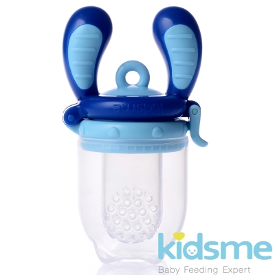 任-英國kidsme-咬咬樂輔食器-藍色M號
