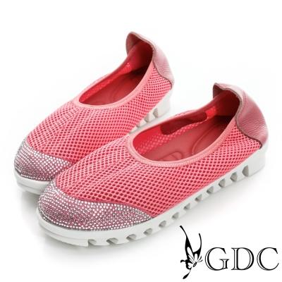 GDC舒適-柔軟彈性厚底懶人休閒鞋-西瓜紅