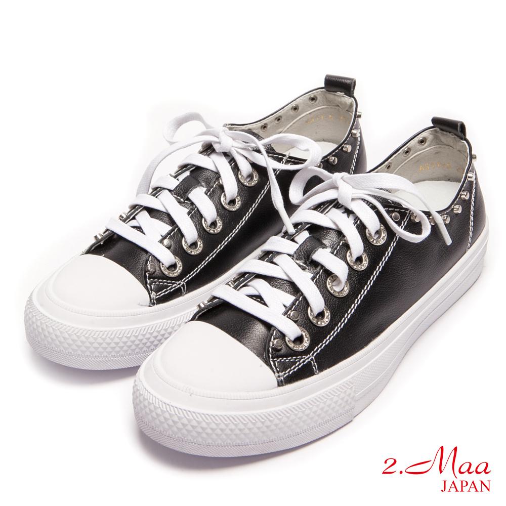 2.Maa-牛皮率性綁帶休閒鞋-黑