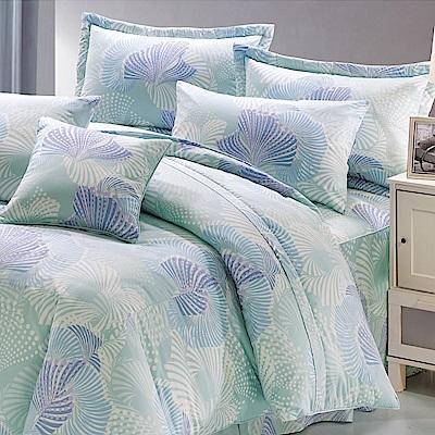 鴻宇HongYew 100%精梳棉 第凡內 藍 雙人七件式兩用被床罩組