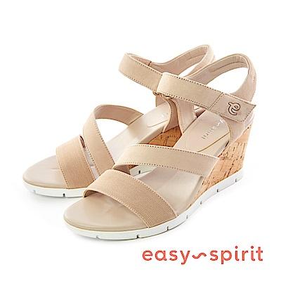 Easy Spirit--皮革交錯楔型涼鞋-優雅膚