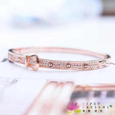 微醺禮物-水鑽-鍍K金-繫上思念-仿皮帶-手環-兩色