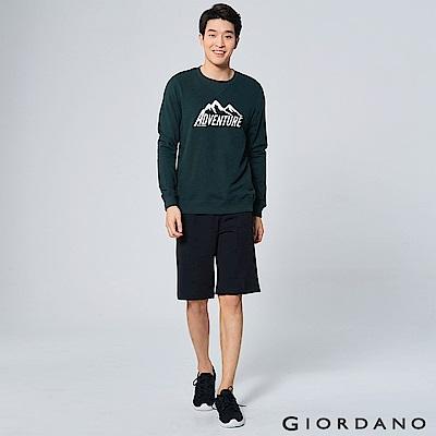 GIORDANO 男裝G-MOTION鬆緊抽繩休閒運動五分褲 - 09 標誌黑
