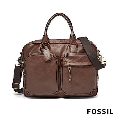FOSSIL DEFENDER 真皮商務包-咖啡色