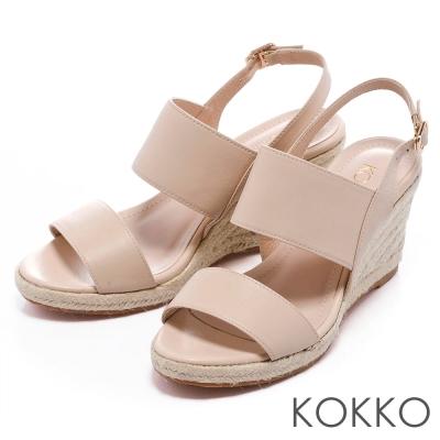 KOKKO-台灣手工-雙環帶後釦式麻台楔型涼鞋-裸膚