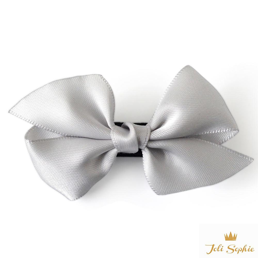 Joli Sophie 美國 銀灰緞帶蝴蝶結髮夾