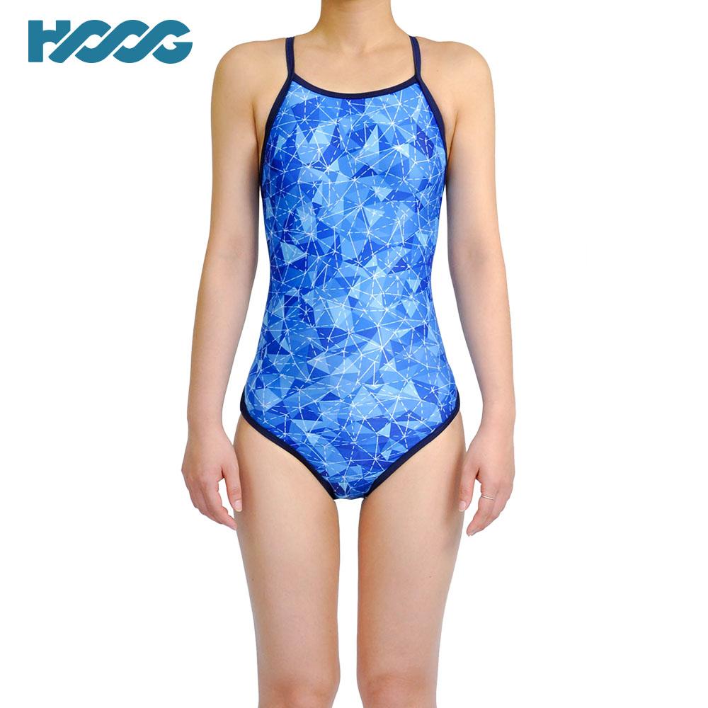 韓國HOOG 連身挖背泳裝WSA671 水藍