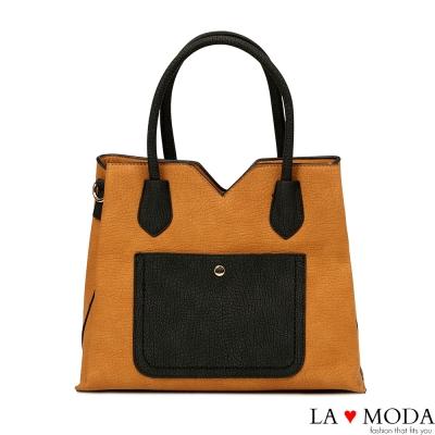 La Moda 出遊超大容量撞色拼接質感荔枝紋托特包(棕黑)