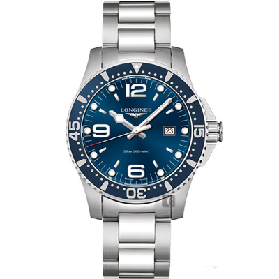 LONGINES 浪琴 征服者300米潛水石英腕錶-藍/44mm