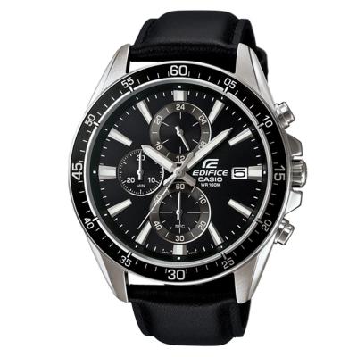 EDIFICE 經典三針三圈設計視距儀賽車皮帶錶(EFR-546L-1A)-黑X黑面/47mm