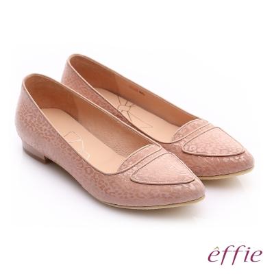 effie 繽紛舒適 真皮動物紋尖楦低跟鞋 粉紅