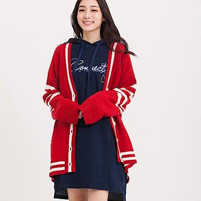 H:CONNECT 韓國品牌 女裝 - 開襟橫紋針織外套 - 紅