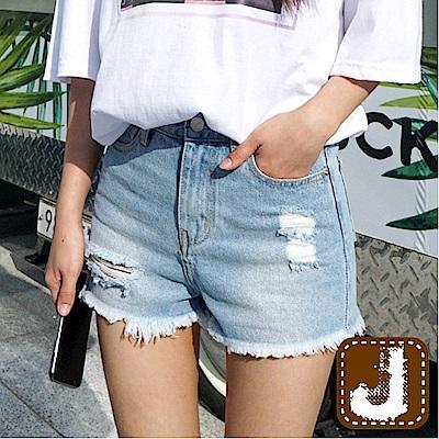 正韓 貓抓鬚擺刷破牛仔短褲-(藍色)100%Korea Jeans