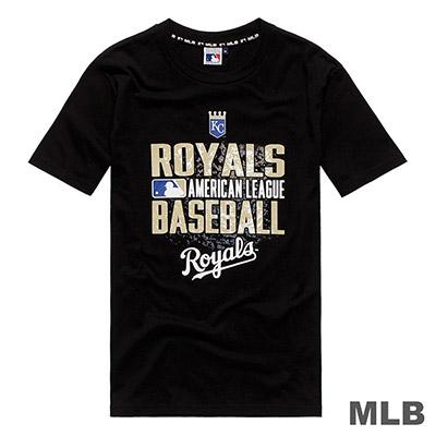 MLB-堪薩斯皇家隊雙色斑駁印花短T-黑 (男)