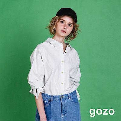 gozo 細條紋開衩袖和服領襯衫(二色)