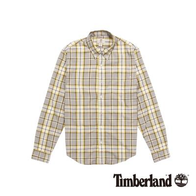 Timberland 男款黃灰格紋休閒長袖襯衫