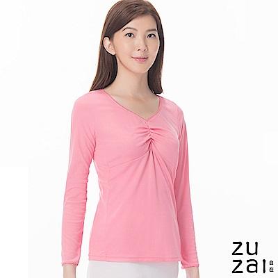 zuzai 自在發熱衣歸真系列女抓縐長袖保暖衣-粉紅色